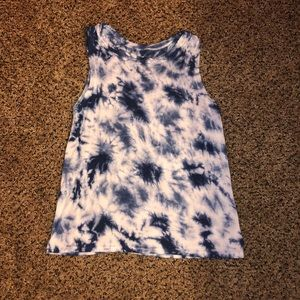 Justice blue and white marbled tank top